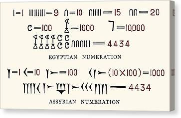 Egyptian And Assyrian Counting Systems Canvas Print by Sheila Terry