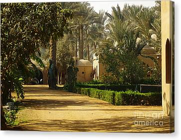 Egyptian Courtyard In The Late Afternoon Canvas Print by Mary Machare