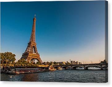 Eiffel Tower And Bridge Canvas Print by (C) Thanachai Wachiraworakam