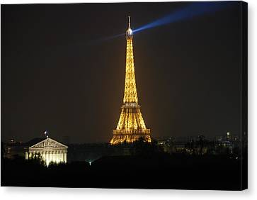 Canvas Print featuring the photograph Eiffel Tower At Night by Jennifer Ancker