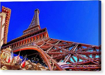 Canvas Print featuring the photograph Eiffel Tower At Paris Las Vegas by Linda Edgecomb
