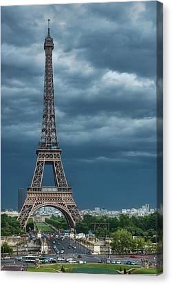 Eiffel Tower On A Stromy Weather Canvas Print by Mihaela Muntean