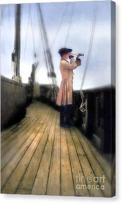 Eighteenth Century Man With Spyglass On Ship Canvas Print by Jill Battaglia
