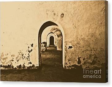 El Morro Fort Barracks Arched Doorways San Juan Puerto Rico Prints Rustic Canvas Print by Shawn O'Brien