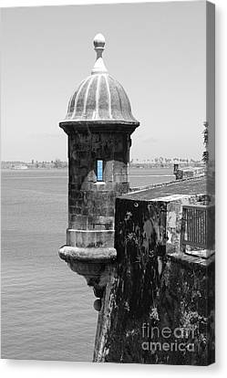Canvas Print featuring the photograph El Morro Sentry Tower Color Splash Black And White San Juan Puerto Rico by Shawn O'Brien