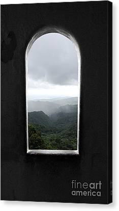 Canvas Print featuring the photograph El Yunque Cloudburst Color Splash Black And White by Shawn O'Brien