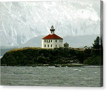 Eldred Rock Lighthouse Canvas Print by Myrna Bradshaw