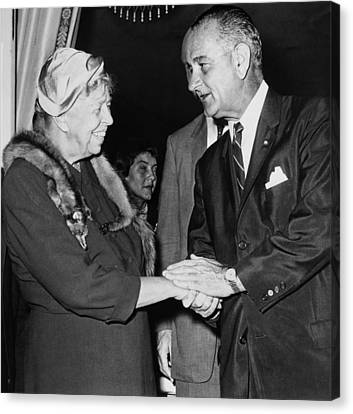Eleanor Roosevelt Shaking Hands Canvas Print by Everett