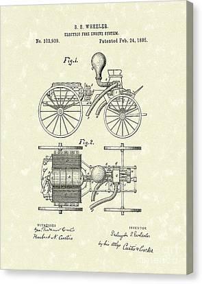 Electric Fire Engine 1885 Patent Art Canvas Print
