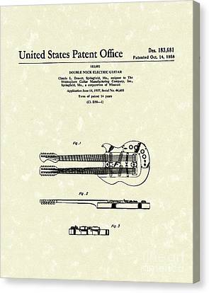 Electric Guitar 1958 Patent Art Canvas Print by Prior Art Design