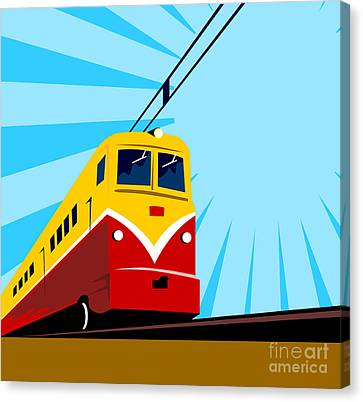 Electric Passenger Train Retro Canvas Print by Aloysius Patrimonio