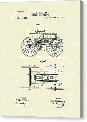 Electric Road Vehicle 1893 Patent Art Canvas Print by Prior Art Design