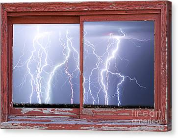 Electric Skies Red Barn Picture Window Frame Photo Art  Canvas Print by James BO  Insogna