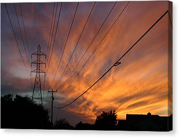 Electric Sunset Canvas Print by Nina Fosdick