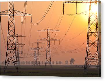 Electricity Pylons Canvas Print by Hans Engbers
