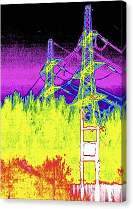 False Power Canvas Print - Electricity Pylons, Thermogram by Tony Mcconnell