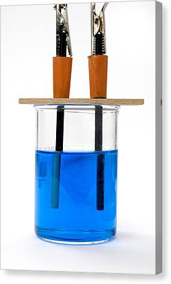 Electrolysis Of Copper Sulphate Canvas Print by Trevor Clifford Photography