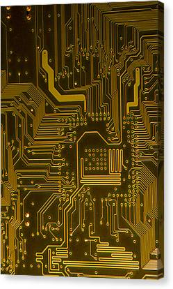 Electronic Highway Yellow Canvas Print by David Paul Murray