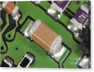 Electronics Board With Lead Solder Canvas Print by Ted Kinsman