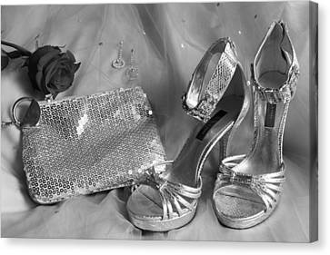 Elegant Night Out In Black And White Canvas Print by Mark J Seefeldt