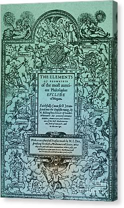 Elements Of Geometry, Frontispiece Canvas Print by Science Source