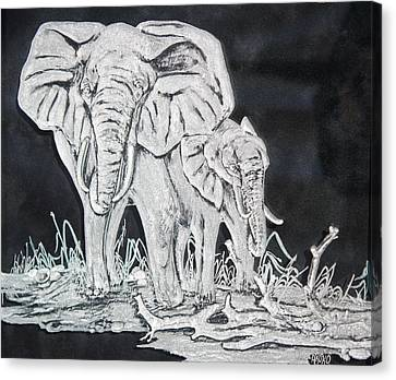 Elephant And Calf Canvas Print by Akoko Okeyo