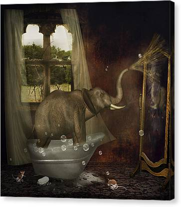 Elephant In Bath Canvas Print by Ethiriel  Photography