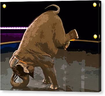 Canvas Print featuring the photograph Elephant Perfomance At Circus by Susan Leggett