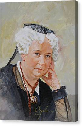 Canvas Print featuring the painting Elizabeth Cady Stanton by Cliff Spohn