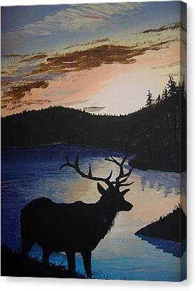 Canvas Print featuring the painting Elk At Sunset by Norm Starks