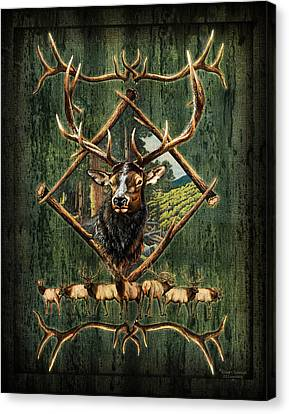 Mountain Cabin Canvas Print - Elk Lodge by JQ Licensing