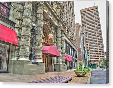 Canvas Print featuring the photograph Ellicott Square Building And Hsbc by Michael Frank Jr