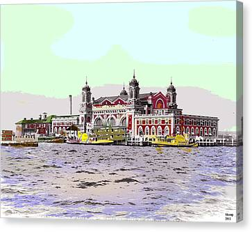 Ellis Island Canvas Print by Charles Shoup