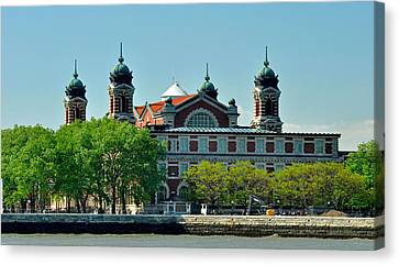 Canvas Print featuring the photograph Ellis Island by Nancy De Flon