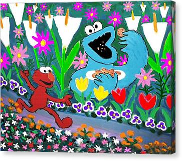 Elmo And The Cookie Monster Canvas Print by Frank Strasser