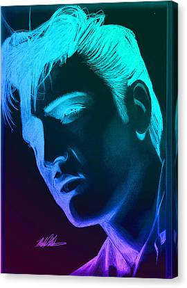 Elvis Neon Canvas Print by Michael Mestas