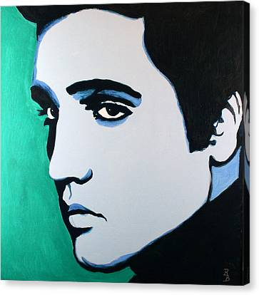 Canvas Print featuring the painting Elvis Presley - Blue Green by Bob Baker