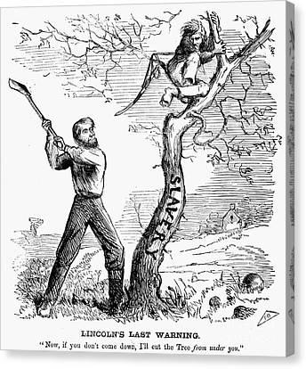 Emancipation Cartoon, 1862 Canvas Print by Granger