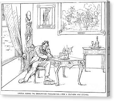 Emancipation Cartoon Canvas Print by Granger
