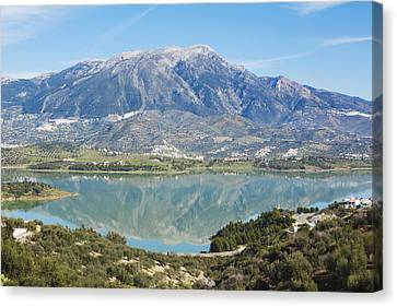 Embalse De La Vinuela, Vinuela Reservoir, Spain Canvas Print by Ken Welsh