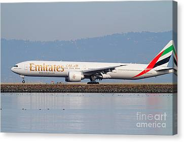 Emirates Airline Jet Airplane At San Francisco International Airport Sfo . 7d12104 Canvas Print by Wingsdomain Art and Photography