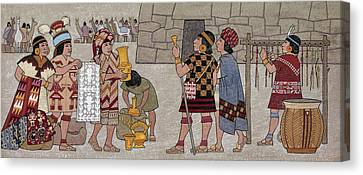Emissaries Bring Tribute To Inca Canvas Print by Ned M. Seidler