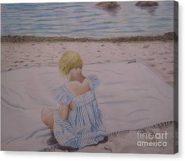 Emma On The Beach Canvas Print by Heather Perez