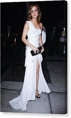 One-shoulder Dress Canvas Print - Emma Watson Wearing A White by Everett
