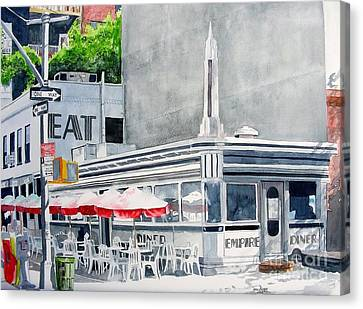 Canvas Print featuring the painting Empire Diner by Tom Riggs