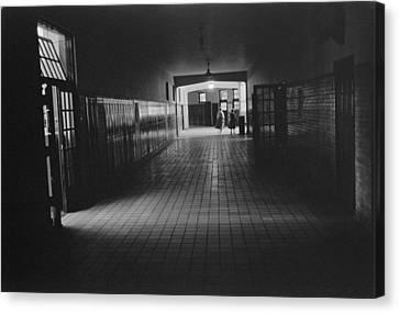 Empty Hallway At Central High School Canvas Print by Everett
