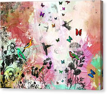 Limited Canvas Print - Enchanting Birds And Butterflies by Carly Ralph