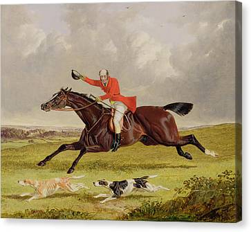 Encouraging Hounds Canvas Print by John Frederick Herring Snr
