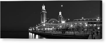 End Of Navy Pier In Black And White Canvas Print by Twenty Two North Photography