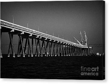 End Of The Jetty At Cloghan Point Oil Terminal In Belfast Lough Northern Ireland Uk Canvas Print by Joe Fox